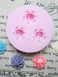 Three Holes Small Rose Silicone Mold Fondant Molds Sugar Craft Tools Resin flowers Mould Molds For Cakes