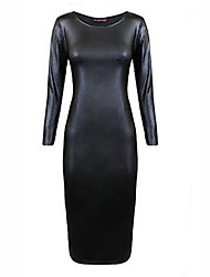 Women's Sexy PU Leather Long Sleeve Midi Dress