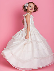 A-line Ball Gown Floor-length Flower Girl Dress - Organza Satin Jewel with Buttons Draping Ruffles Ruching
