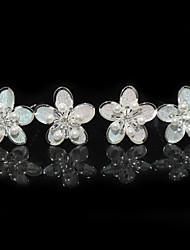 Four Pieces Alloy Flower Shape Wedding Bridal Hairpins With Rhinestones