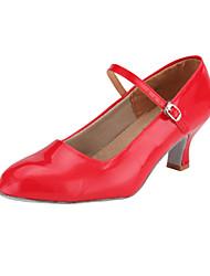 Chaussures de danse(Rouge Argent Or) -Non Personnalisables-Talon Bobine-Similicuir-Moderne Salon