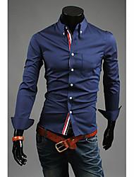 ZBN Men's Casual Korean Style Long Sleeve Shirt(White)