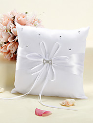 Starlight Ring Pillow In White Satin With Scattered Rhinestones
