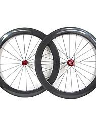 Farsports 700c de vélo de route / vélo 60mm Profondeur * 23mm Largeur de surface de Full Carbon Tubular Wheels Basalt frein