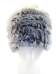Deniso-Women's Grey Cony Hair Winter Cap