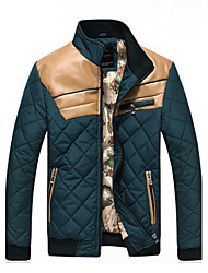 Macht Man Elegant Contrast Color gewatteerde jas (Groen)