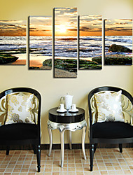 Toiles Tendues Art Paysage folles vagues Set de 5