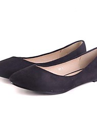 KAFU Simple Solid Color Pointed Flat Shoes(Black)