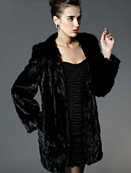 Long Sleeve Hooded Mink Fur Party/Casual Coat