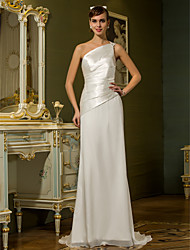 Lanting Bride® Sheath / Column Petite / Plus Sizes Wedding Dress - Chic & Modern Simply Sublime Sweep / Brush Train One ShoulderChiffon /