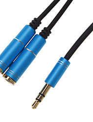 3.5mm Headphone Male to 2 Female Splitter Cable Blue (0.3M)