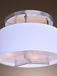 Modern Chrome Finish Flush Mount with 3 Lights White Fabric Shade