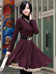WEIER schlanke Taille Langarm Kleid