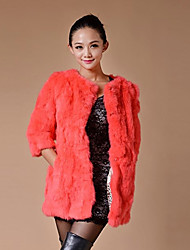 Fashion 3/4 Sleeve Collarless Rabbit Fur Casual/Party Coat(More Colors)