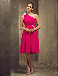 Knee-length Chiffon Bridesmaid Dress - Fuchsia Plus Sizes / Petite A-line One Shoulder