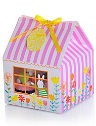 Strip Pattern House Shaped Cupcake Box With Tag and Bow - Set of 6