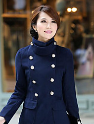 Flower Leisure Double Breasted Woolen Overcoat(Navy Blue)