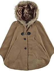 Women's Fashion Cape Coat Faux Fur Hooded Batwing Pocket Cloak Poncho Dolman Shawl Outerwear