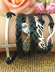 MERRY ME Vintage Hand-Knitted Leather Cord Love Design Bracelet