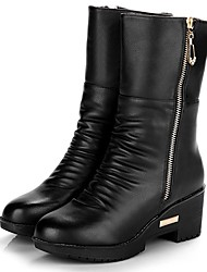 LTBL Women's Side Zip Leather Thick Sole Ankle Boots