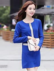 YGR Women's Blue High Quality Contrast Color Dress