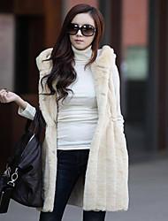 ER Women's  Bodycon Faux Fur Waistcoat
