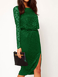 Women's Lace Lang Sleeve Backless Dress