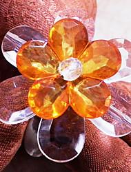 Floral Rond de serviette, Set de 12, acrylique perles Dia3.5cm