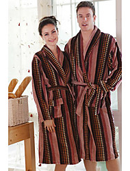 Bath Robe,Terry Cotton Brownness Stripe Print Garment