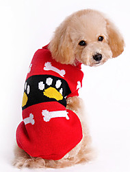 Dog Sweater / Clothes/Clothing Red Winter Cartoon