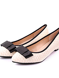 KAFU Bow Decorative Woven Pointed Toe Flat Shoes(Almond)