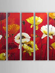 Pintados à mão Floral/Botânico Horizontal,Tradicional 5 Painéis Tela Pintura a Óleo For Decoração para casa