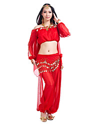 Belly Dance Outfits Women's Training Chiffon Sequins 3 Pieces Long Sleeve Top Pants Hip Scarf