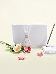 Elegant Wedding Guest Book and Pen Set With Floral Rhinestone