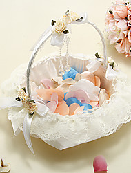 Flower Basket In Ivory Satin With Lace And Crystal Pendant
