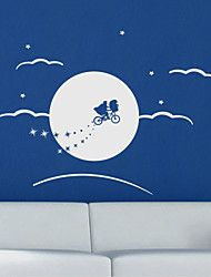 Cartoon Ridding to Moon Wall Stickers
