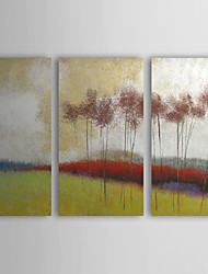 Hand Painted Oil Painting Landscape Hillside with Stretched Frame Set of 3