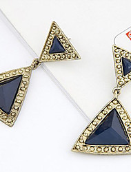 MARRY ME Women's Geometric Dual Stereo Triangular Gem Temperament Earrings(Black,Royal Blue)