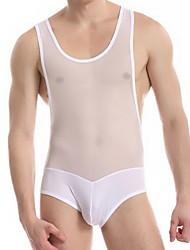JQK Men's White Sexy Mesh Jumpsuit