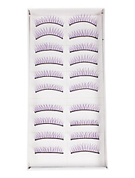 10Pcs False Eyelashes(Purple)