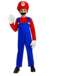 Super Mario Red Polyester Kids' Costume with Beard (for Height 120-130cm)