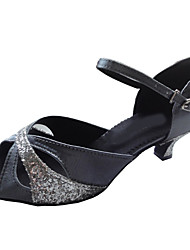 Customizable Women's Dance Shoes Latin/Ballroom Satin/Sparkling Glitter Customized Heel Black
