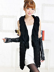Fur Vest With Fashionable Sleeveless Collarless Rabbit Fur Party/Casual Vest
