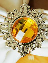 Noces de diamant Rond de Serviette Set de 12, Crystal Dia métal 4.5cm