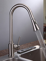 Contemporary Nickel Brushed Finish Single Handle Kitchen Faucet