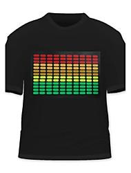 Men's Fashion Music Sound Activated LED Flashing Light Stripes T-Shirt