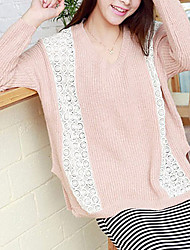 Folli Koreaanse ronde hals met lange mouwen Lace splicing Knit Shirt