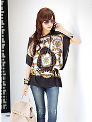 Women's Print Black Blouse , Slash Neck ½ Length Sleeve