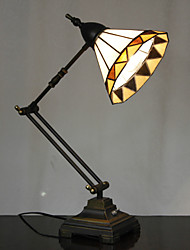 40W Vintage Tiffany Glass Light with Resin Stand and Adjustable Arm