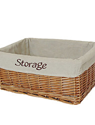Classic Embroidered Linen Storage Basket